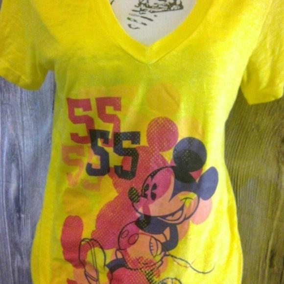 Disney Tops - Disney T-Shirt Yellow Short Sleeve V Neck Tee Mick